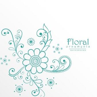 Elegantes ornamentos florales azules