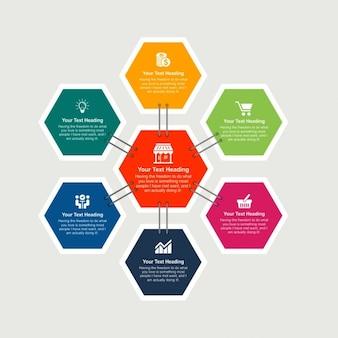 Elemento abstracto infográfico con forma de hexagonal