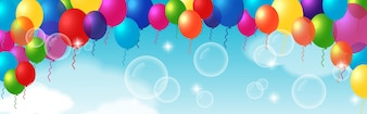 Elemento decorativo colorido con globos
