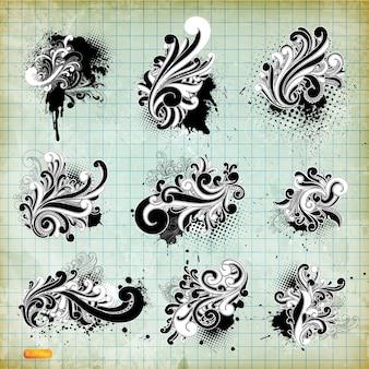 Elemento urbano tipografía caligráfica ornamentales