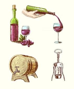 Elementos acerca del vino, dibujados a mano