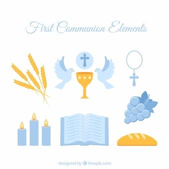 Elementos azules de primer comunión