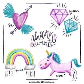 Elementos bonitos de acuarela y simpático unicornio