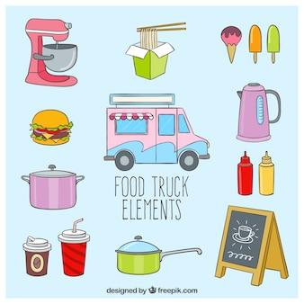 Elementos bonitos de los camiones de comida