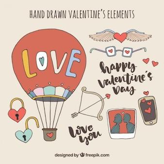 Elementos bonitos de valentín dibujados a mano