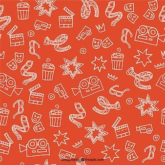 elementos cimema bosquejos patrón de color naranja