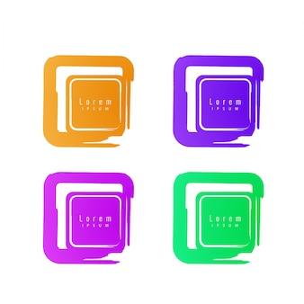 Elementos cuadrados de diseño con espacio para texto