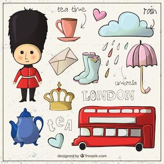 Elementos culturales de Londres dibujados a mano