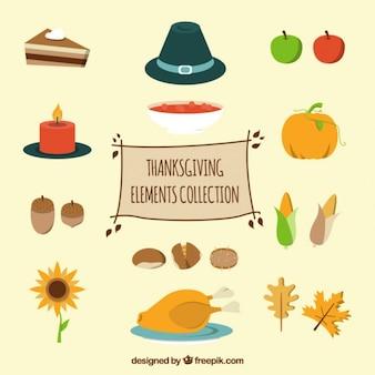 Elementos de acción de gracias en estilo plano