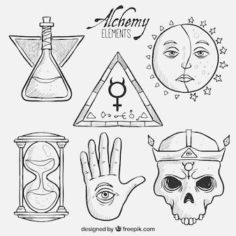 Elementos de alquimia dibujados a mano
