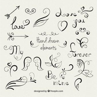 Elementos de amor dibujados a mano