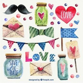 Elementos de amor pintados a mano
