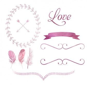 Elementos de amor rosas