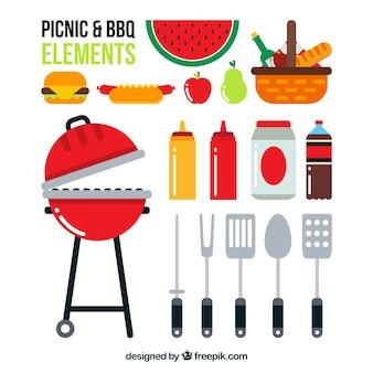 Elementos de barbacoa y picnic en diseño plano