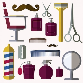 Elementos de barbería en diseño plano