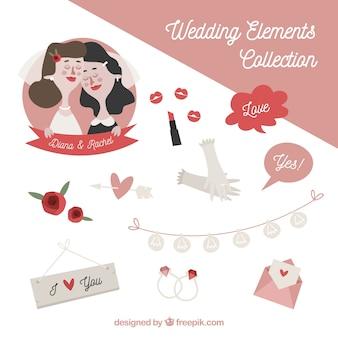 Elementos de boda con linda pareja