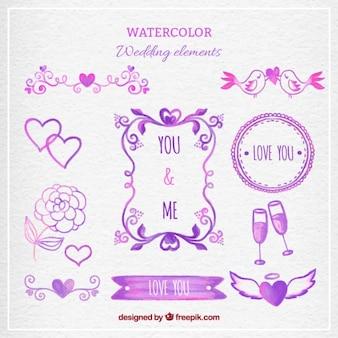 Elementos de boda morado de acuarela