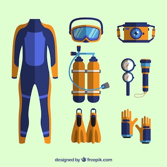 Elementos de buceo con traje de buzo en diseño plano