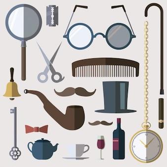 Elementos de caballero en diseño plano