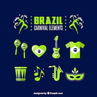 Elementos de carnaval de Brasil verdes