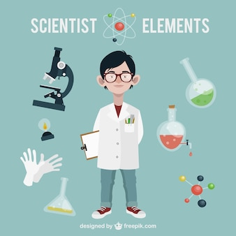 Elementos de ciencia con un científico