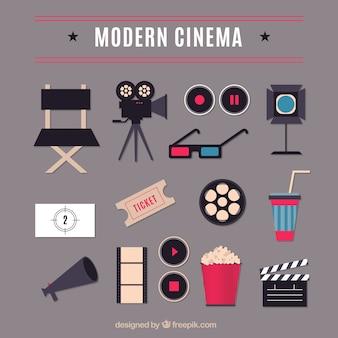Elementos de cine modernas planas