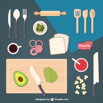 Elementos de cocina e ingredientes