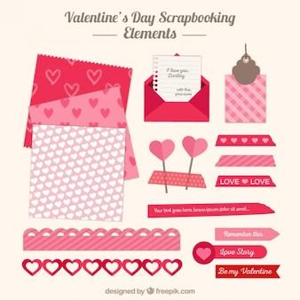 Elementos de colección de recortes para el día de san valentín