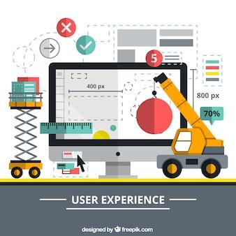 elementos de construcción de un sitio web en el diseño plano