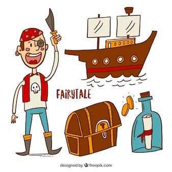 Elementos de cuentos de piratas dibujados a mano