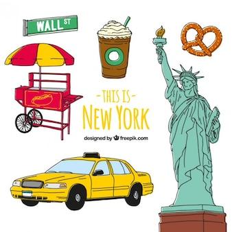 Elementos de cultura de nueva york dibujados a mano