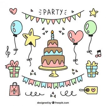 Elementos de cumpleaños dibujados a mano para decoración
