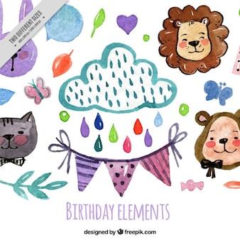 Elementos de cumpleaños dibujados a mano