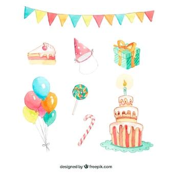 Elementos de cumpleaños en acuarela