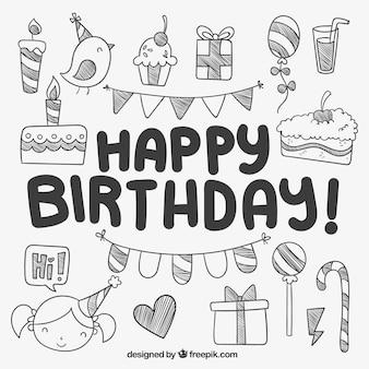 Elementos de cumpleaños lindos dibujados a mano