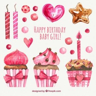 Elementos de cumpleaños de acuarela en color rosa