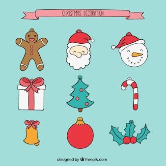 Elementos de decoración navideña dibujados a mano