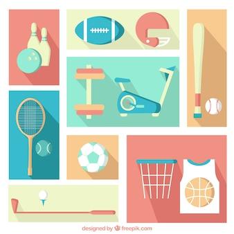 Elementos de Deporte en estilo diseño plano