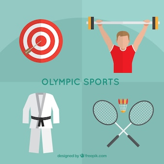 Elementos de deportes olímpicos en diseño plano