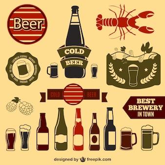 Elementos de diseño de cerveza vintage