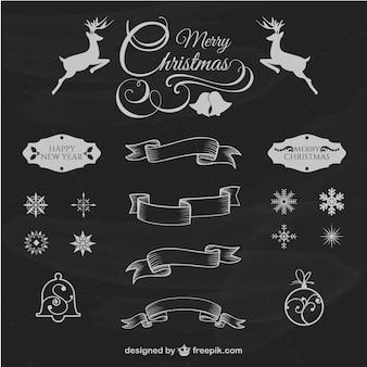 Elementos de diseño de Navidad estilo retro