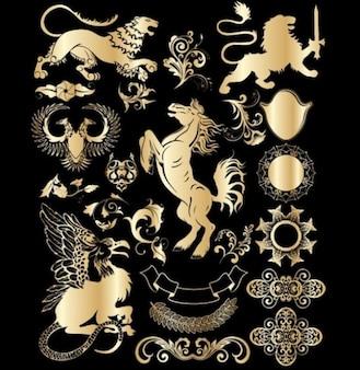 Elementos de diseño vectorial heráldicos de oro históricas