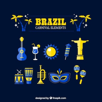 Elementos de elementos de carnaval amarillos y azules