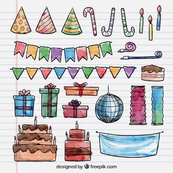 Elementos de fiesta de cumpleaños pintados a mano