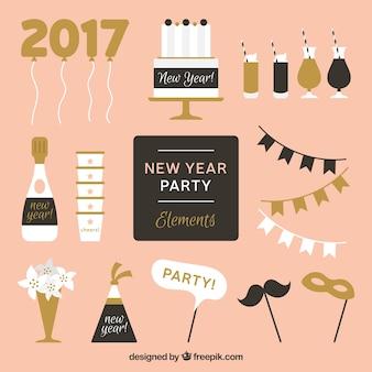 Elementos de fiesta dorados y negros para año nuevo