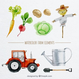 Elementos de granja pintados a mano en acuarela