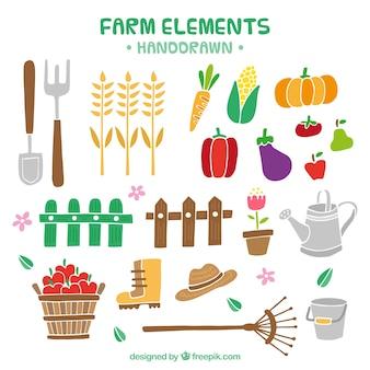 Elementos de granja y productos dibujados a mano