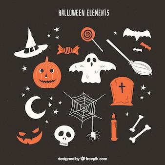 Elementos de halloween con estilo vintage