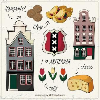 Elementos de la Ámsterdam ciudad dibujados  a mano