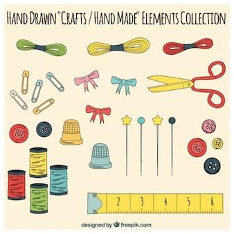 Elementos de la artesanía, dibujados a mano